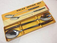 Vintage 1960's Modernist Simco Rosewood Salad Servers Set Boxed Retro
