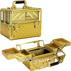 3.8mm Acrylic Nail and Makeup Case Cosmetic with 4 Extendable Trays and Keylock