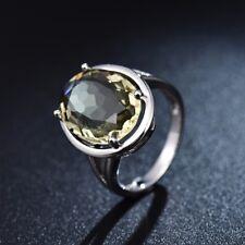 Lady Signet Green Peridot Crystal Retro Vintage Statement Gemstone Rings 6-10
