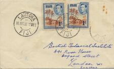 FIJI 1950 COVER to England - missing  and torn stamp @D841