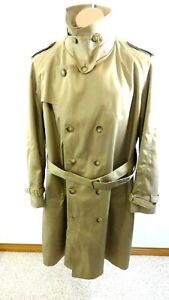 MISTY HARBOR MENS KHAKI LONG TRENCH COAT W/WOOL BLEND LINING JACKET SIZE 46 REG