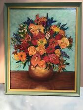 A Pritchard Still Life Flowers Framed Oil Painting