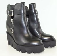NIB Ash Women Ricky Platform Wedge Ankle Leather Boots in Black 340636