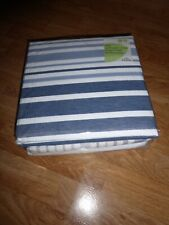 INDIGO STRIPED SEERSUCKER BLUE NAUTICAL Duvet set KING SIZE COTTON RICH *NEW*