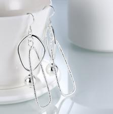 Womens 925 Sterling Silver Bead Ball Long Drop Dangle Fashion Earrings #E121