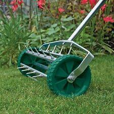 Heavy Duty Hand Held Garden Lawn Aerator Manual Push Along For Gardening & Spike