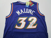 KARL MALONE / NBA HALL OF FAME / AUTOGRAPHED UTAH JAZZ THROWBACK JERSEY / COA