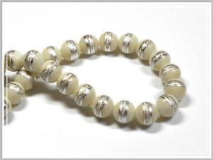 10 runde Lampwork Perlen weiss/silber 10mm Lampworkperlen
