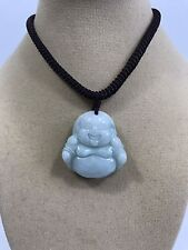 "Handcrafted knot work cord adjustable jade carved ""laughing buddha"" pendant"