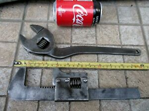 Genuine Vintage Lot 2 Museum Large Size Tools Adjustable Spanner Wrench & Pipe