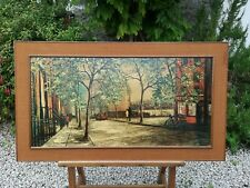 Mid Century Vintage Retro 1960s Large Abstract Framed Picture Parisian Scene