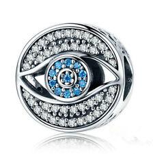 DIY Eye European CZ Crystal Charm Silver Spacer Beads Fit Necklace Bracelet