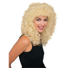 Long Blonde Tight Curly Wet Look Deluxe 80s Rock Star Adult Unisex Costume Wig