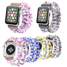 Flowers Ceramic Beads Band Bracelet for Apple Watch iWatch Series 6 5 4 3 Strap