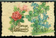 DOUSE SOUVENIR Embellished VINTAGE SCRAPS Raised Rose Clovers French Postcard