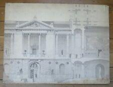 ARCHITECTURE dessin au lavis étude d'une façade à fronton
