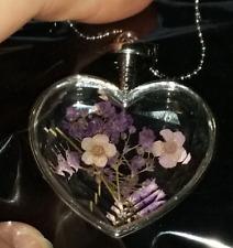 NEW Real Tiny Flowers Sealed Inside Clear Heart Charm Necklace - FREE Shipping!