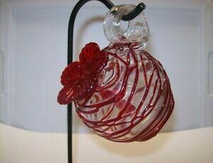 """Parasol """"Droplet"""" (Red Swirl) Mini Hand Blown Glass Hummingbird Feeder"""