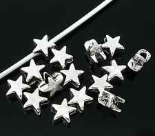 100 BEAUTIFUL HIGH QUALITY SILVER ALLOY STAR BEADS - STUNNING 6mm