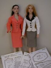 """Jacket With Lapels, Skirt Pattern 22AM04 For Tonner's 22"""" American Model Dolls"""