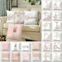 Cover Up Pink Cushion Letter Print Pillow Car Pillowcase Home Decor Case Throw