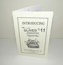 Oliver 11 Typewriter Speedster Instruction Manual and Brochure