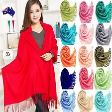 Soft Pashmina Solid Cashmere Silk Wrap Long SCARF Women neck Winter Warmer Shawl