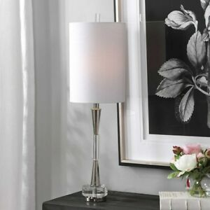 """AZARIA CONTEMPORARY XXL 33"""" POLISHED NICKED METAL TABLE LAMP UTTERMOST 29734"""