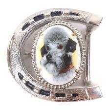 "Vintage Poodle Horseshoe Belt Buckle 2.75"" x 2.75"""
