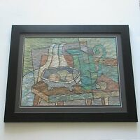 CORNALY ?VINTAGE PAINTING  ABSTRACT CUBISM 1960'S MODERNISM SIGNED MID CENTURY