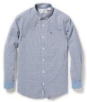 RRP £65 ORIGINAL PENGUIN MEDIUM blue Gingham Stretch cotton SHIRT free p+p