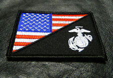 USA FLAG MARINE CORPS USMC  TACTICAL MORALE HOOK LOOP PATCH (red/wht)