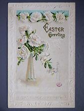 R&L Postcard: Beautiful, Easter Greetings J Herman, Flowers, Embossed