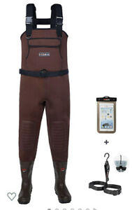 HISEA Men's Neoprene Fishing Chest Waders 200 3M Brown Size 9 New