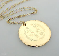 Personalized Monogram Pendant - 14K Gold Filled Disc Engraved Initials Necklace