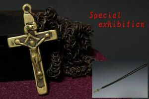 Japan Antique Edo cross necklace Christian tsuba yoroi samurai katana Busho 切支丹