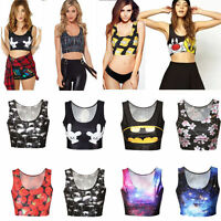 Women Crop Tank Tops Vest Bralet Bra Cartoon Printed Shirt Blouse Sports Bustier