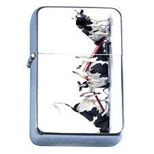 Windproof Refillable Flip Top Oil Lighter Funny Cow D3 Broken SeeSaw Bovine