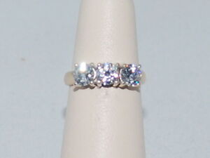 14k Gold ring with trinity CZ's