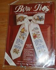 """BOW TIE """"BLESS THIS HOUSE"""" door decoration Cross Stitch Kit NEW by Joan Marchie"""