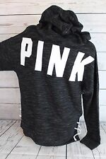 Victoria's Secret PINK Women's Hoodie Sweatshirt Pullover Marled Lace Up X Small