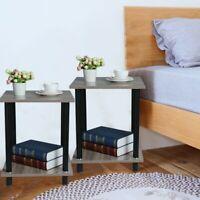 Set of 2 Bedside Table Living Room Sofa Wood Legs Home Bedroom Nightstand Gray