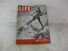 Vintage Life Magazine February 17th 1947 Water Skier Cover Publisher Time  mg362