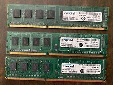 Three (3) Crucial by Micron 12 GB PC Desktop RAM (3x 4GB) DDR3 1600 UDIMM Memory
