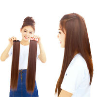 Women Long New Hair Extensions Straight Synthetic Clip in hair Hot
