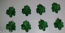 NEW SET 8 GLITTER  SHAMROCK ORNAMENTS ST PATRICKS PATRICK DAY GREEN IRISH DECOR