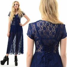 Vtg 80s 90s Sheer LACE Goth Floral Witchy CORSET BACK Gypsy Grunge Midi Dress S