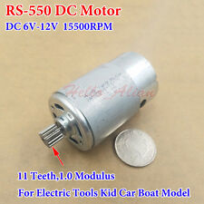 DC 6V 12V 15500RPM High Speed RS-550 Motor 11 Teeth Gear Electric Kid Car Boat
