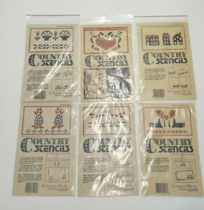 LOT OF 6 COUNTRY STENCILS BY REGENCY MILLS VILLAGE PINEAPPLES BOYS GEESE BASKET