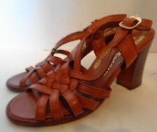 Vintage Botticelli Reddish Brown Leather Sandal Heel Shoes 5 M 1970s